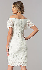Image of off-the-shoulder ivory lace knee-length party dress. Style: JU-TI-T0041 Back Image