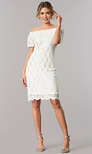 Image of off-the-shoulder ivory lace knee-length party dress. Style: JU-TI-T0041 Detail Image 1