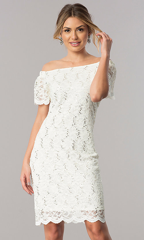 Image of off-the-shoulder ivory lace knee-length party dress. Style: JU-TI-T0041 Front Image