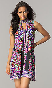 Short Purple Print Casual Shift Dress with Cut Out