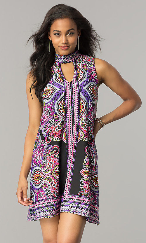 Image of short purple print casual shift dress with cut out. Style: JU-TI-T0021 Front Image