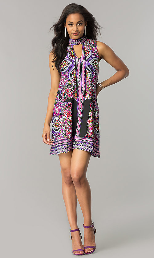 Image of short purple print casual shift dress with cut out. Style: JU-TI-T0021 Detail Image 1