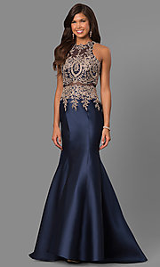 Image of long satin prom dress with embroidered illusion bodice. Style: LAD-JC-CD8934 Detail Image 2