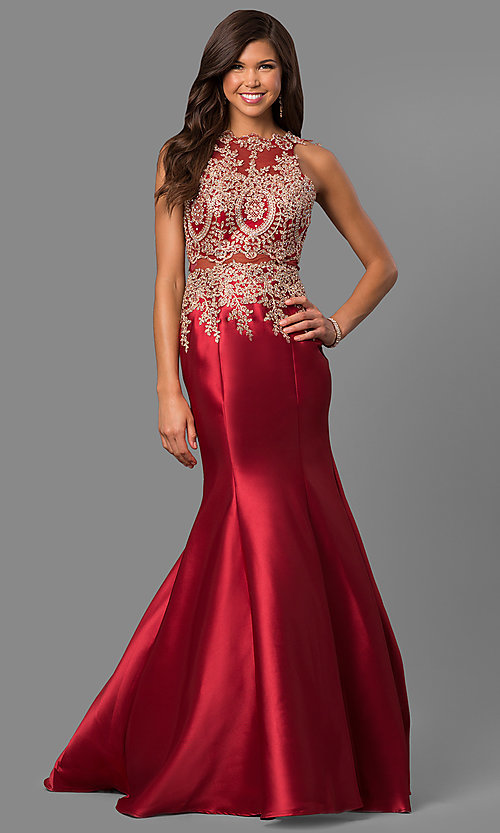 Image of long satin prom dress with embroidered illusion bodice. Style: LAD-JC-CD8934 Front Image