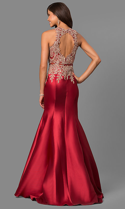 Image of long satin prom dress with embroidered illusion bodice. Style: LAD-JC-CD8934 Back Image