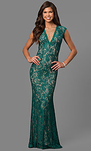 Image of long lace prom dress with rhinestone-illusion v-neck. Style: LAD-JC-RM1418 Detail Image 3
