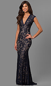 Image of long lace prom dress with rhinestone-illusion v-neck. Style: LAD-JC-RM1418 Front Image