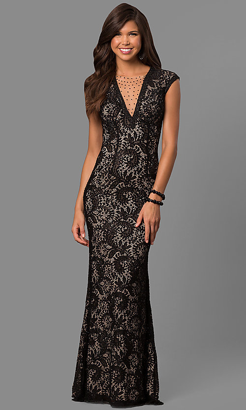 Image of long lace prom dress with rhinestone-illusion v-neck. Style: LAD-JC-RM1418 Detail Image 1