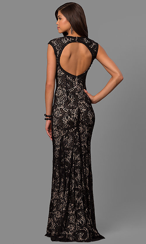 Image of long lace prom dress with rhinestone-illusion v-neck. Style: LAD-JC-RM1418 Back Image