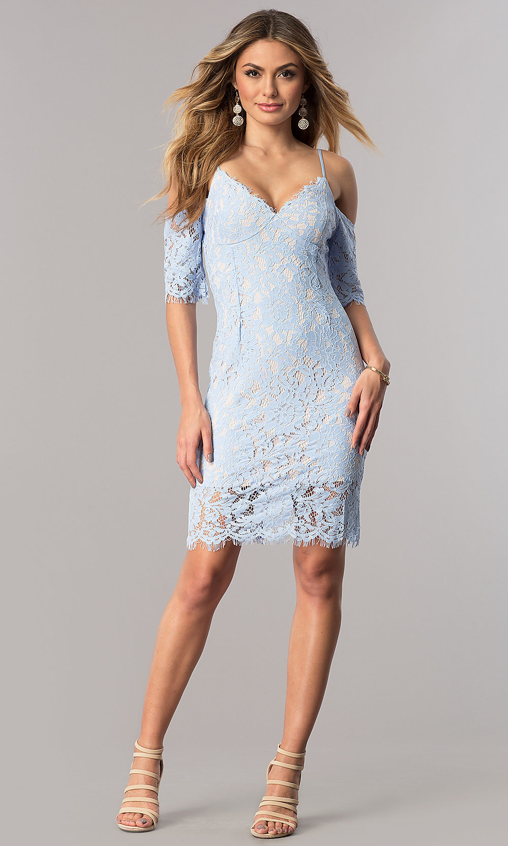 Cold-Shoulder Ice Blue Lace Party Dress - PromGirl