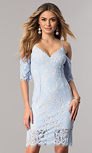 Ice Blue Short Lace Party Dress with Cold Shoulder