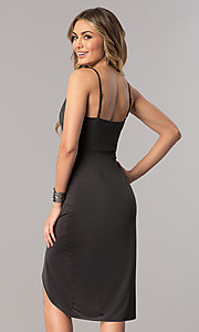 Image of short mock-wrap wedding-guest party dress in charcoal. Style: AC-DA23518R Back Image