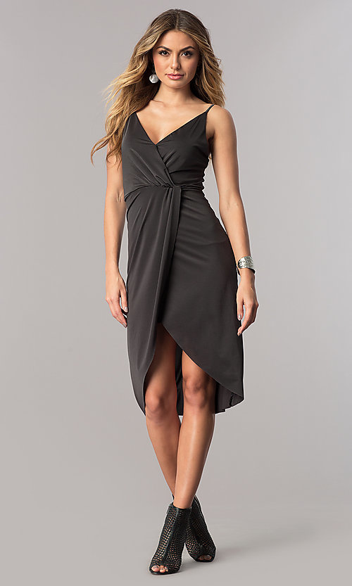 Image of short mock-wrap wedding-guest party dress in charcoal. Style: AC-DA23518R Detail Image 1