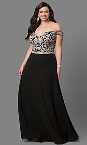 Image of plus-size off-shoulder long prom dress with applique. Style: DQ-9701P Front Image