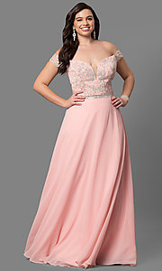 Image of plus-size off-shoulder long prom dress with applique. Style: DQ-9701P Detail Image 2