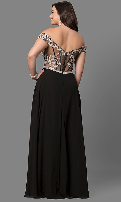 Image of plus-size off-shoulder long prom dress with applique. Style: DQ-9701P Back Image