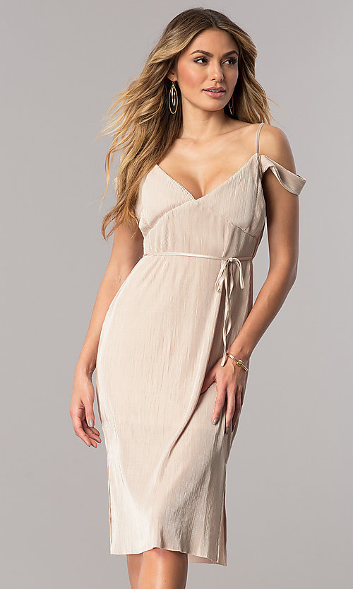Image of champagne gold midi party dress with v-neckline. Style: AC-DA23536R Front Image