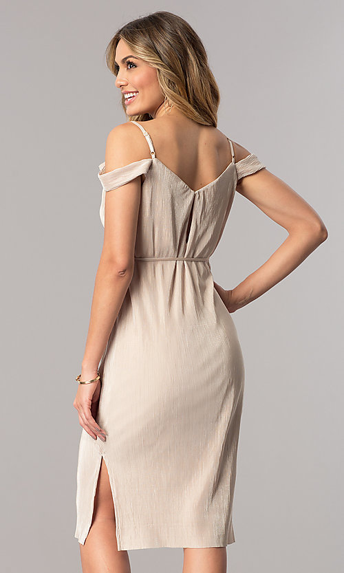 Image of champagne gold midi party dress with v-neckline. Style: AC-DA23536R Back Image