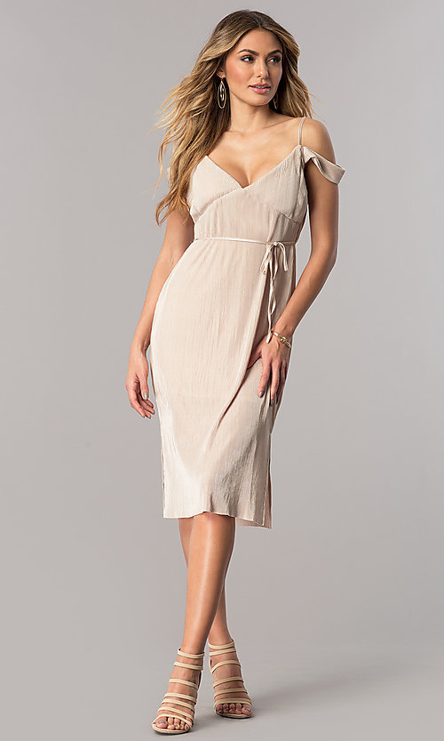 Image of champagne gold midi party dress with v-neckline. Style: AC-DA23536R Detail Image 1