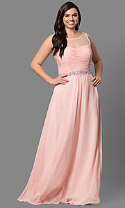 Image of plus-size long prom dress with ruched corset bodice. Style: DQ-9541P Detail Image 3