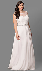 Image of plus-size long prom dress with ruched corset bodice. Style: DQ-9541P Front Image