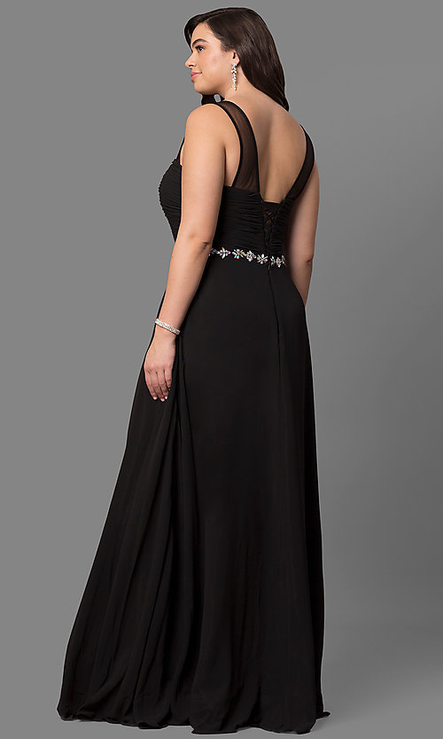 Image of plus-size long prom dress with ruched corset bodice. Style: DQ-9541P Back Image