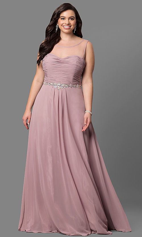 Image of plus-size long prom dress with ruched corset bodice. Style: DQ-9541P Detail Image 2