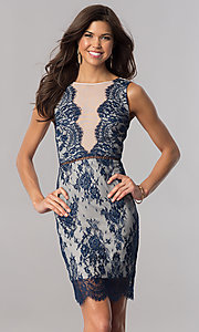 Image of short navy blue floral-lace party dress. Style: AC-DA23533B Front Image