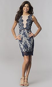 Image of short navy blue floral-lace party dress. Style: AC-DA23533B Detail Image 1