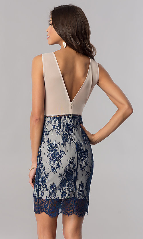Image of short navy blue floral-lace party dress. Style: AC-DA23533B Back Image