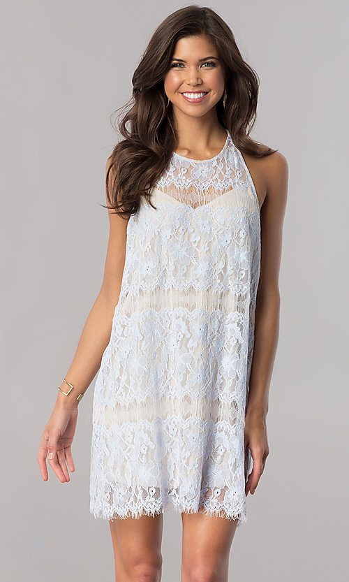Image of ice blue lace short shift party dress with t-back. Style: AC-DA23551R Front Image