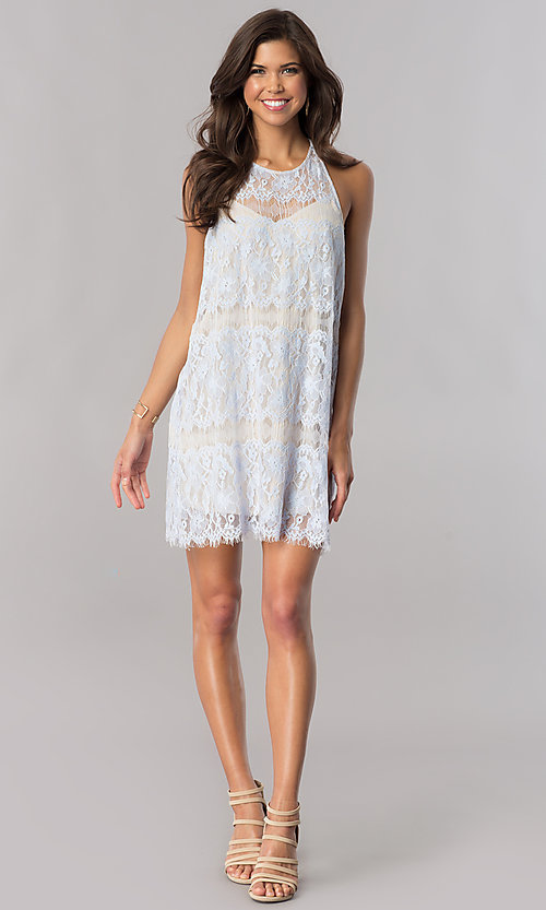 Image of ice blue lace short shift party dress with t-back. Style: AC-DA23551R Detail Image 1