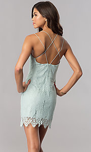 Image of short lace open-back cheap green party dress. Style: AC-DA23576B Back Image