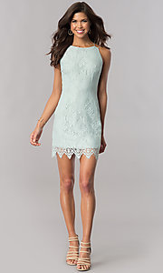 Image of short lace open-back cheap green party dress. Style: AC-DA23576B Detail Image 1