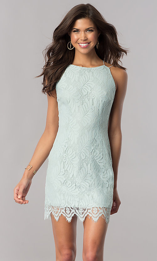 Image of short lace open-back cheap green party dress. Style: AC-DA23576B Front Image