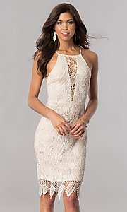 Knee-Length Lace Party Dress with V-Neckline