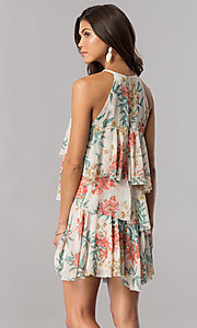 Image of floral-print multi-tiered casual party shift dress. Style: AC-DSE23664W Back Image