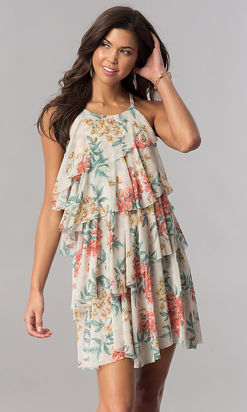 Image of floral-print multi-tiered casual party shift dress. Style: AC-DSE23664W Front Image