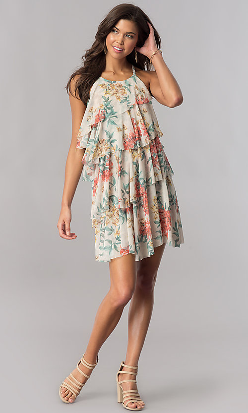 Image of floral-print multi-tiered casual party shift dress. Style: AC-DSE23664W Detail Image 1