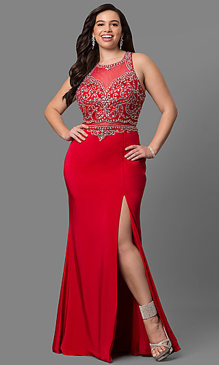 Sexy Plus-Size Open-Back Red Prom Dress - PromGirl