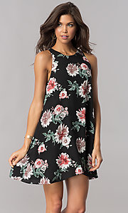 Image of chiffon floral-print short shift party dress. Style: AC-DS23573V Front Image