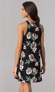 Image of chiffon floral-print short shift party dress. Style: AC-DS23573V Back Image
