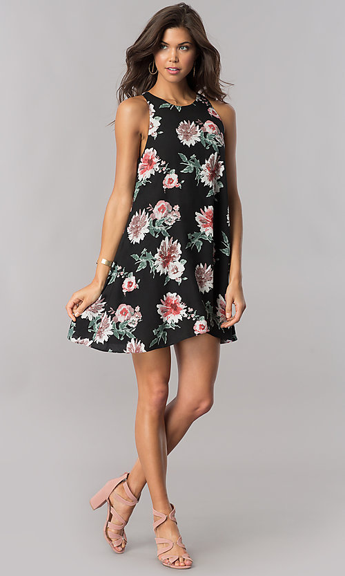 Image of chiffon floral-print short shift party dress. Style: AC-DS23573V Detail Image 1