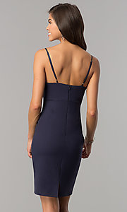 Image of empire-waist v-neck short party dress in indigo blue. Style: AC-DA23643W Back Image