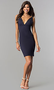 Image of empire-waist v-neck short party dress in indigo blue. Style: AC-DA23643W Detail Image 1