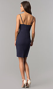 Image of empire-waist v-neck short party dress in indigo blue. Style: AC-DA23643W Detail Image 2