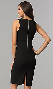 Image of short black party dress with slit and low v-neck. Style: AC-DE22784R Back Image
