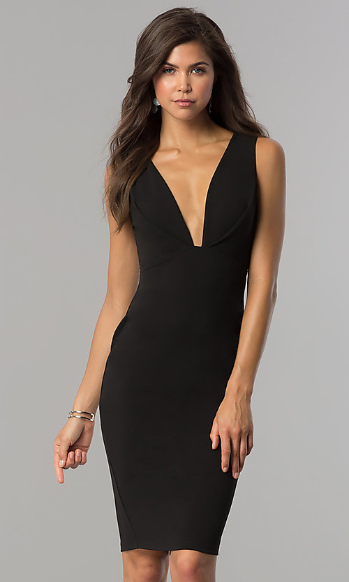 Image of short black party dress with slit and low v-neck. Style: AC-DE22784R Front Image