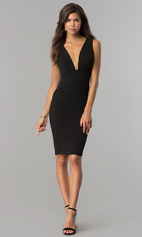 Image of short black party dress with slit and low v-neck. Style: AC-DE22784R Detail Image 1
