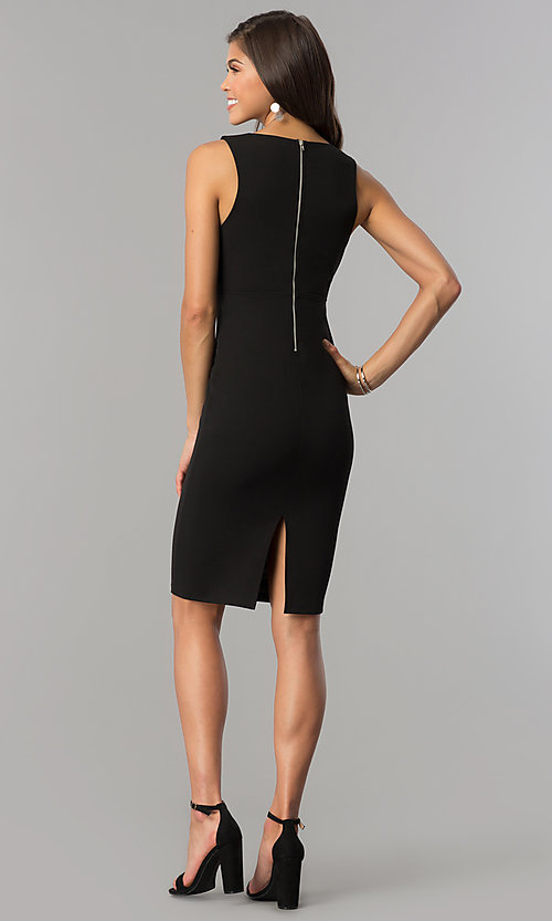 Image of short black party dress with slit and low v-neck. Style: AC-DE22784R Detail Image 2